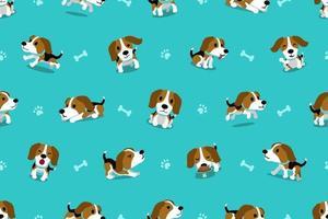 vector, caricatura, carácter, beagle, perro, seamless, patrón