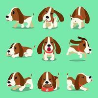 personaje de dibujos animados de vector poses de perro de caza