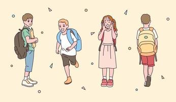 A set of children characters carrying a bag. vector