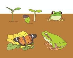 In spring, frogs and sprouts are emerging from the soil. vector