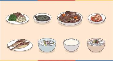 Korean typical meal menu. vector