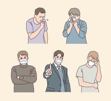 The man in the mask is speaking. People who don't wear a mask are sneezing. vector