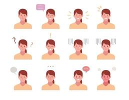 Set of face female characters with various emotion expressions. vector