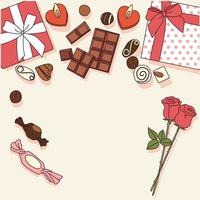 Valentine's Day gifts are on the table. vector