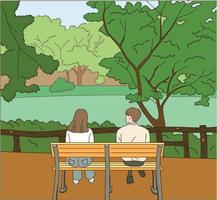 The back view of a man and a woman sitting on a park bench. vector