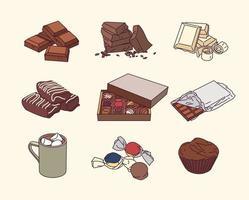 una variedad de postres de chocolate. vector