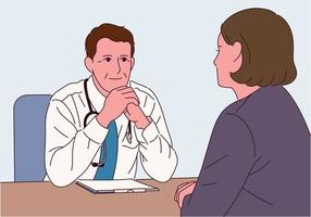 The doctor is sitting at the desk and listening to the patient. vector