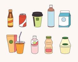 varios tipos de bebidas. vector