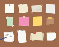 Various types of memo papers. vector
