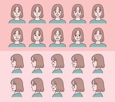 Set of face girl characters with various emotion expressions. vector