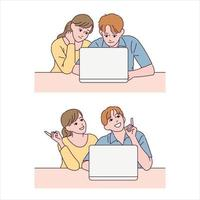 The boy and the girl look at the laptop and make an expression that they know something. vector