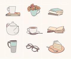 objetos que puedes disfrutar a la hora del té mientras lees un libro. vector