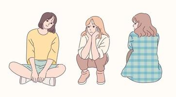 Sitting poses of a cute girl. vector