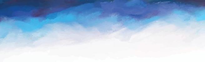 Realistic blue watercolor panoramic texture on white background - Vector