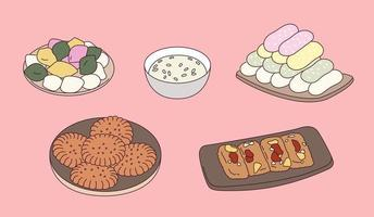 Korean traditional sweets. vector