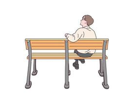 A man is sitting on bench alone. vector