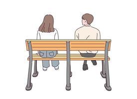 la vista posterior de una pareja de hombres y mujeres sentados en un banco. vector