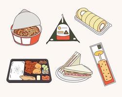 Korean convenience store foods. vector