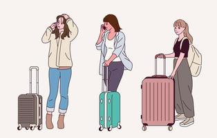 Women with a suitcase. vector