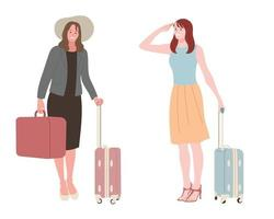 Women with suitcases. vector