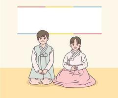 los niños con trajes tradicionales coreanos están sentados. vector