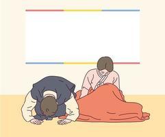 una pareja con trajes tradicionales coreanos dice un saludo tradicional. vector