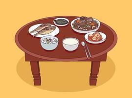 Korean traditional table setting. vector