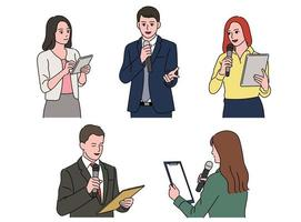 Set of people characters holding notes and speaking while holding a microphone. vector