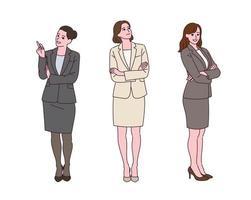 una mujer de negocios en traje está de pie con una expresión de confianza. vector