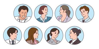 Varias personas de negocios se enfrentan en un marco circular. vector