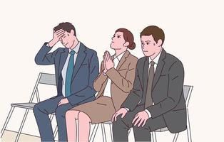 People in suits are praying while waiting for the interview with nervous expressions. vector