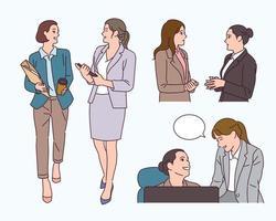 las mujeres de negocios están teniendo una conversación. vector