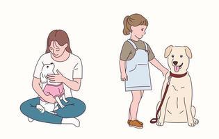 una mujer tiene un cachorro en su pierna. una niña está de pie junto a un perro grande. vector