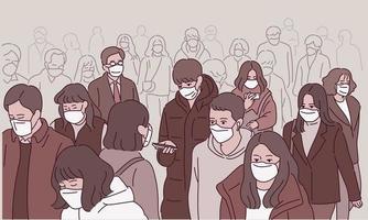 muchas multitudes en la calle caminan por la calle con máscaras. vector