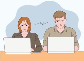 Los dos están sentados a la mesa, trabajando en sus computadoras portátiles, mirándose el uno al otro. vector