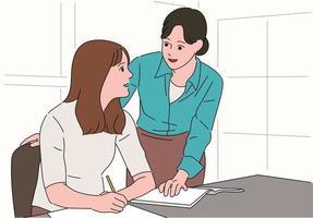 una niña está estudiando y la maestra amablemente enseña. vector