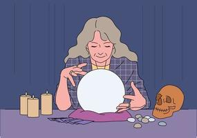 A astrologer is doing divination.
