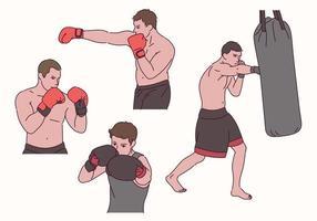 posturas de carácter boxeador. vector