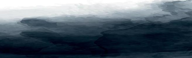 Realistic dark watercolor panoramic texture on white background - Vector