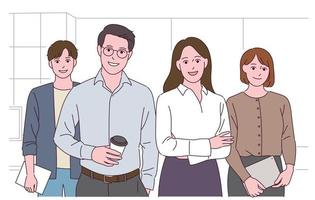 Office people with a confident expression. vector