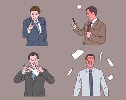The boss is angry with various expressions. vector
