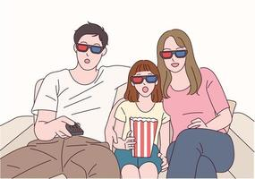 famliy are watching a movie together wearing 3D glasses. vector