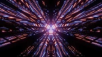 túnel futurista luminoso com luzes coloridas em ilustração 3 d video