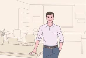 A man is standing in an office with a confident expression. vector
