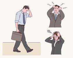 Office workers have stressed expressions. vector