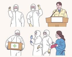 El personal médico con uniformes de cuarentena está luchando contra una enfermedad infecciosa. vector