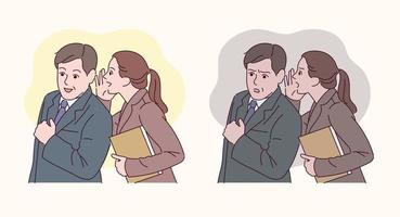 An office worker is whispering to a colleague. vector