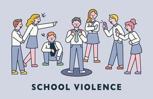 school violence. Bad students are harassing another student flat design style minimal vector illustration.