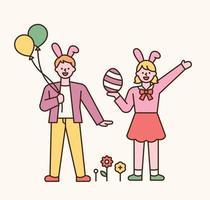 personajes de pascua. niño y niña en diademas de conejo. tienen globos y huevos de pascua en sus manos. Ilustración de vector mínimo de estilo de diseño plano.