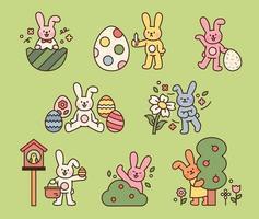 lindo personaje de conejito de pascua. lindos conejos en el bosque están celebrando la pascua. Ilustración de vector mínimo de estilo de diseño plano.